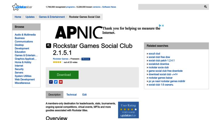 Access rockstar-games-social-club updatestar com  Rockstar Games