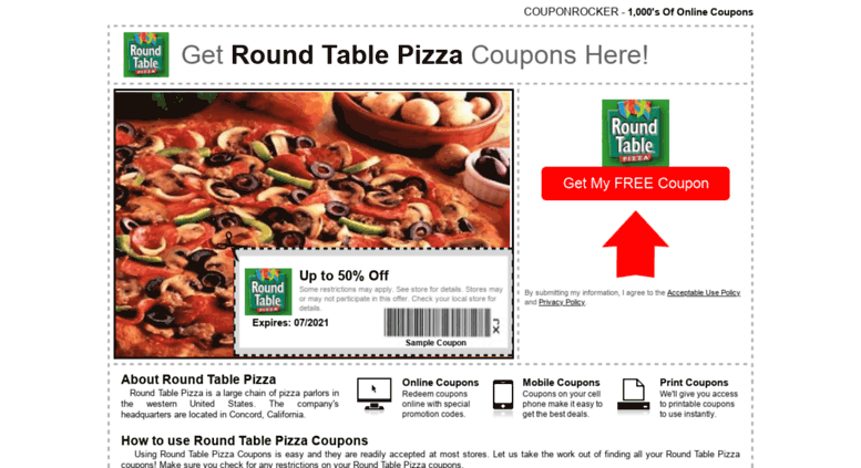 Where Is Round Table Pizza.Access Roundtablepizza Couponrocker Com Round Table Pizza Coupons