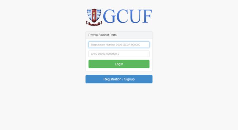 Access rs gcuf edu pk  Private Student Portal Login GCUF