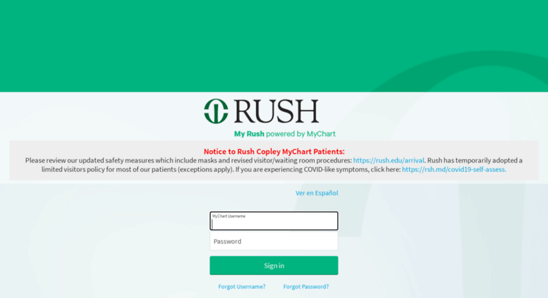 Rushcopley Mychart Rush Edu Screenshot
