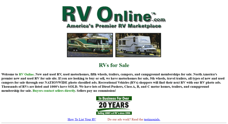 Access rvonline com  Motorhomes for sale along with fifth