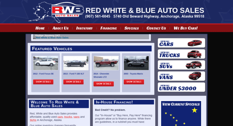 Red White And Blue Auto Sales >> Access Rwbauto Com Red White Blue Auto Sale In Anchorage Alaska