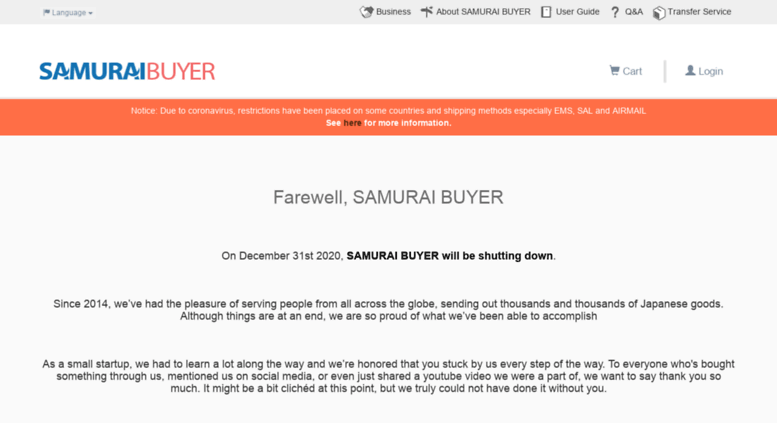 Access samuraibuyer jp  Proxy shopping and Auction service