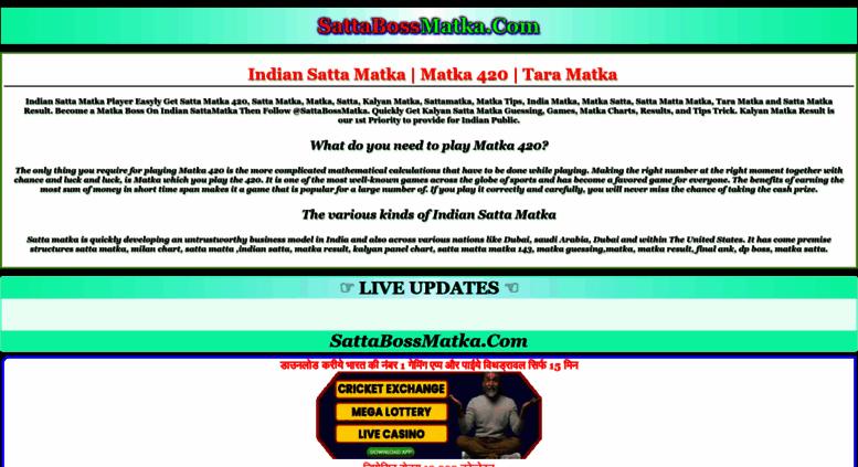 Access sattabossmatka com  Satta Matka | Tara Matka | Indian