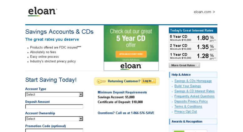 Online Savings Account >> Access Savings Eloan Com Online Savings Accounts Bank Cds