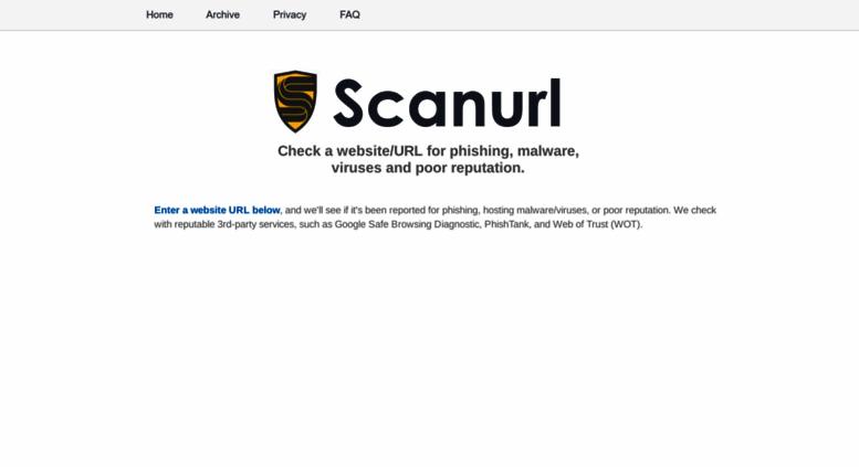 Access scanurl net  Website/URL/Link Scanner Safety Check
