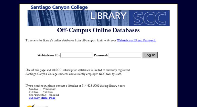 Access scclib sccollege edu  Santiago Canyon College Library