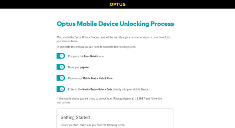 Access secure-unlock com au  Optus Mobile Device Unlock