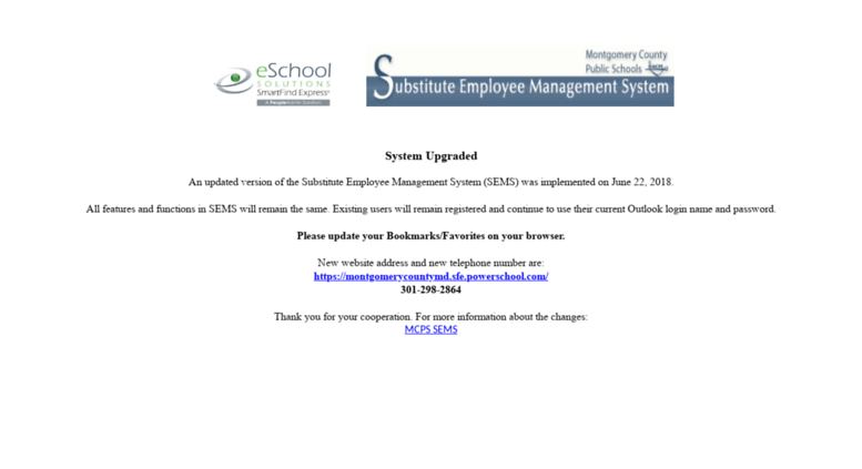 Access sems mcpsmd org  SEMS Upgraded