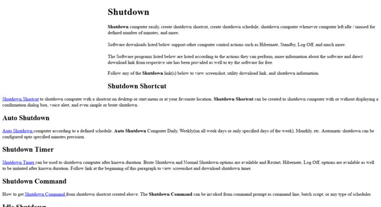 Access shutdown cc  Shutdown Shortcut, Auto Shutdown