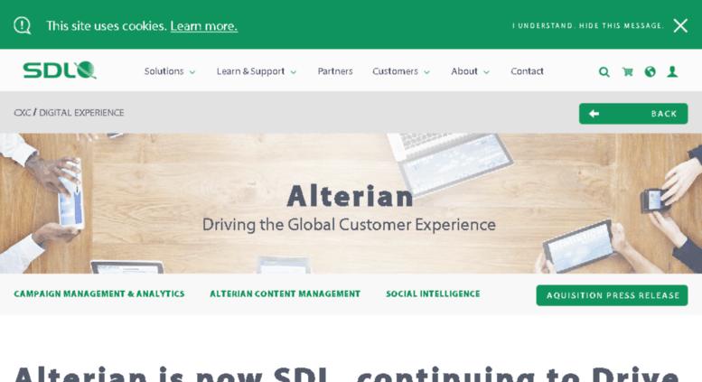 Access sm2.sdl.com. Alterian is Now SDL Web | SDL