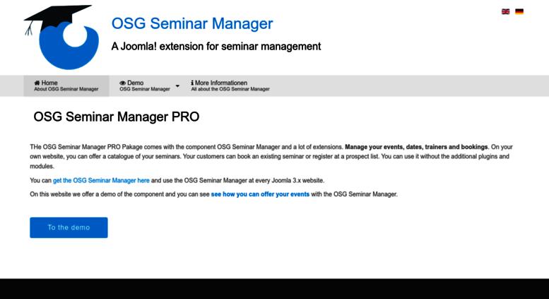 Access sman osg-gmbh de  OSG Seminar Manager, Joomla