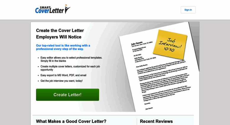 Access smartcoverletter.com. SmartCoverLetter| Free Cover Letter Writer