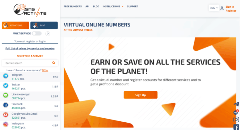Access sms-activate ru  Virtual numbers for receiving SMS and