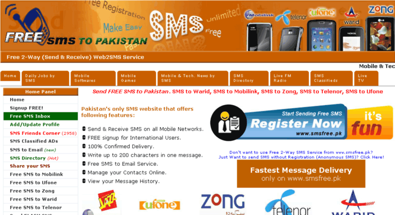 Access smsfree pk  Send & Receive Unlimited SMS FREE, FLASH SMS by
