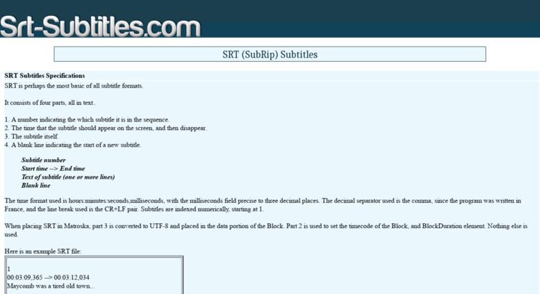Access srt-subtitles com  srt-subtitles com - srt subtitles information