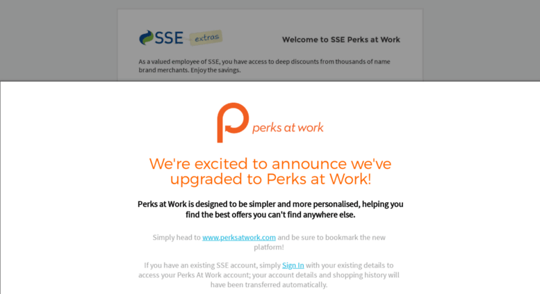Perks At Work >> Access Sse Corporateperks Com Sign In Sse Perks At Work
