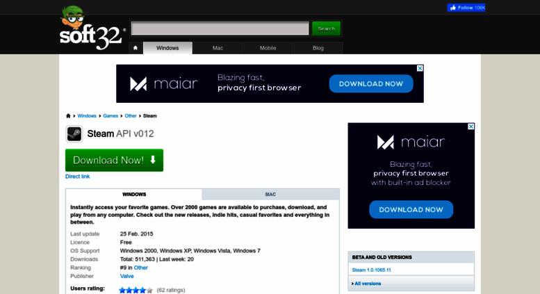 Access steam soft32 com  Download Steam API v012