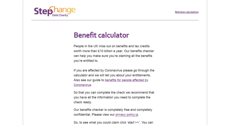 Access stepchange entitledto co uk  Benefits calculator
