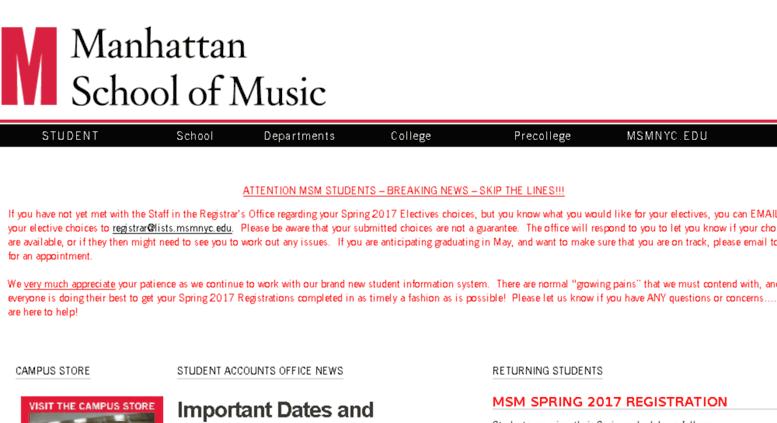 msmnyc Access students.msmnyc.edu. Manhattan School of Music