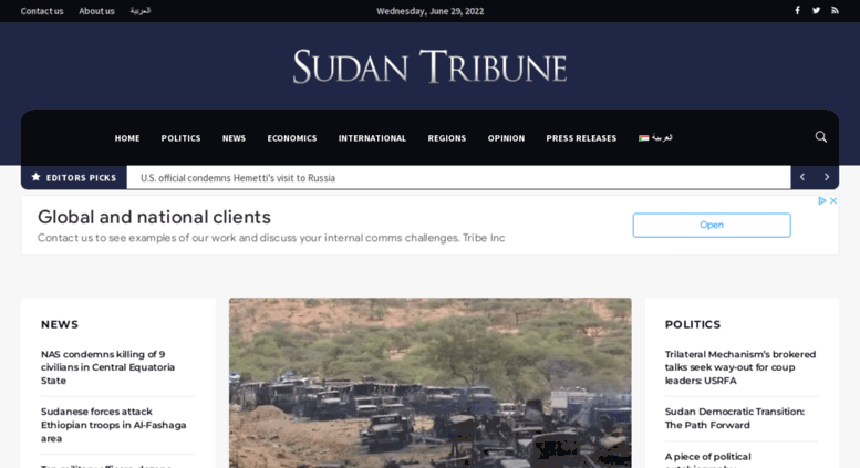 Access sudantribune com  Sudan Tribune: Plural news and