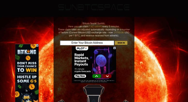 Access sunbtc space  Sunbtc - Get free satoshi every 5 minutes