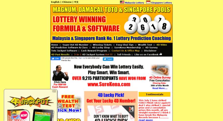 Access surekena com  Malaysia & Singapore Lottery Result