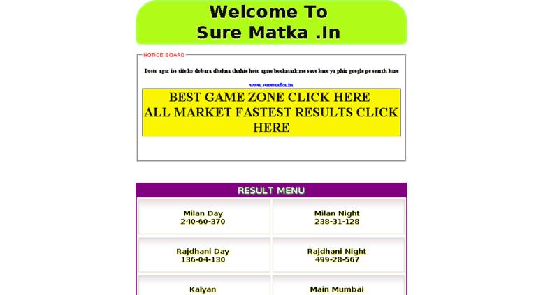 Access surematka in  SATTA MATKA | FREE KALYAN MAIN DAILY FIX GAME