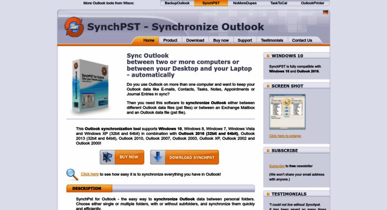 Access synchpst com  Outlook synchronization with SynchPst