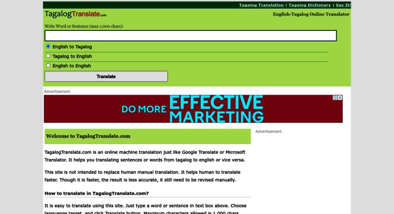 Translate tagalog to english to tagalog