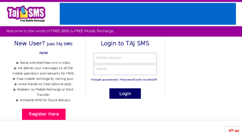 Access tajsms com  Unlimited Free SMS in India | Schedule