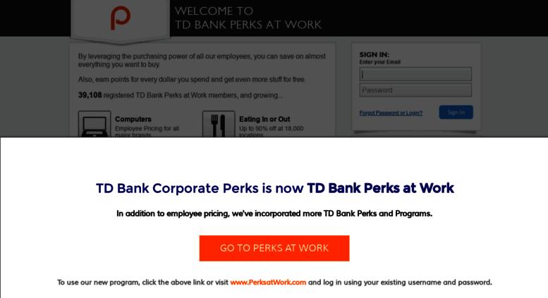 Access tdbank corporateperks com  TD Bank Perks at Work