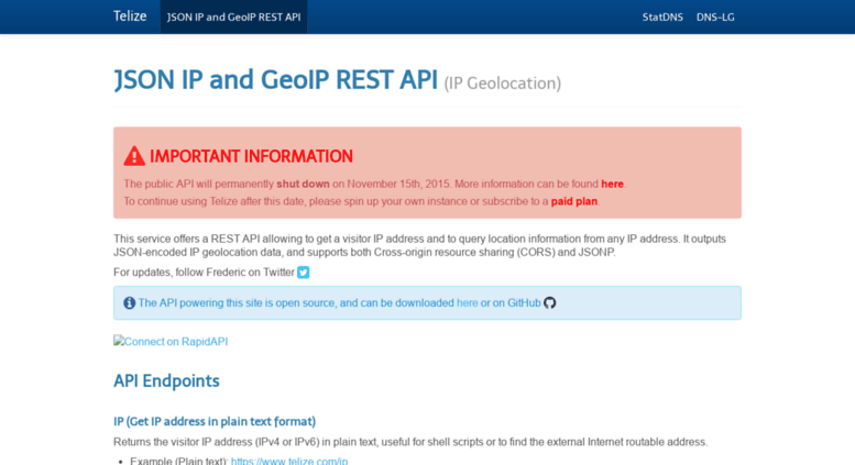 Access telize com  Telize - JSON IP and GeoIP REST API