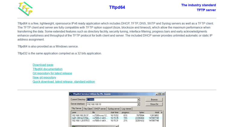 Access tftpd32 jounin net  TFTPD32 : an opensource IPv6
