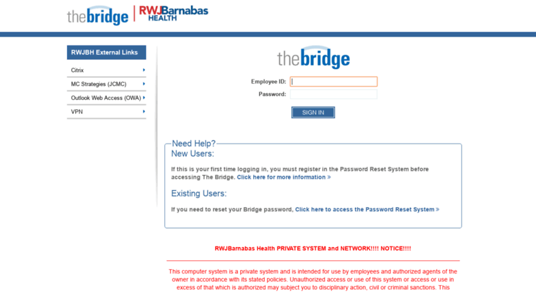 Access thebridge barnabashealth org  Login | The Bridge