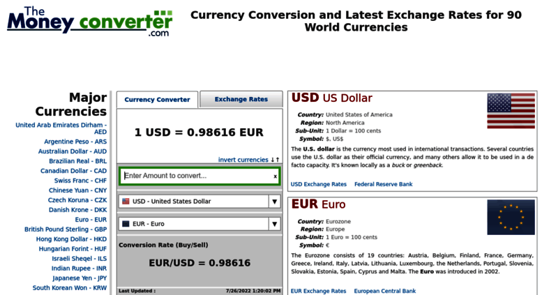 Access Themoneyconverter Currency Converter And Latest Foreign Exchange Rate Information