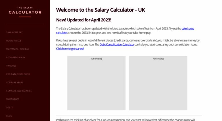 2020 Take Home Pay Calculator.Access Thesalarycalculator Co Uk The Salary Calculator