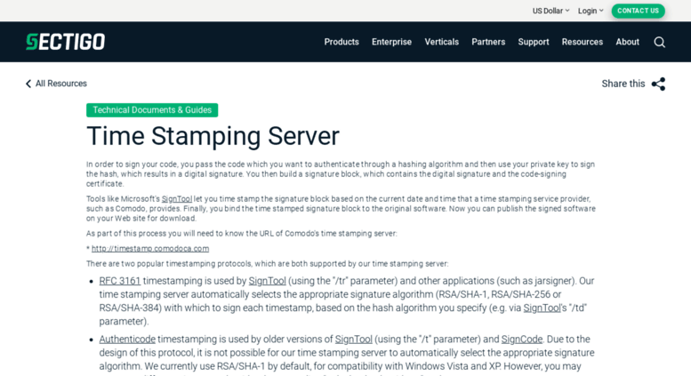Access timestamp comodoca com  Time Stamping Server