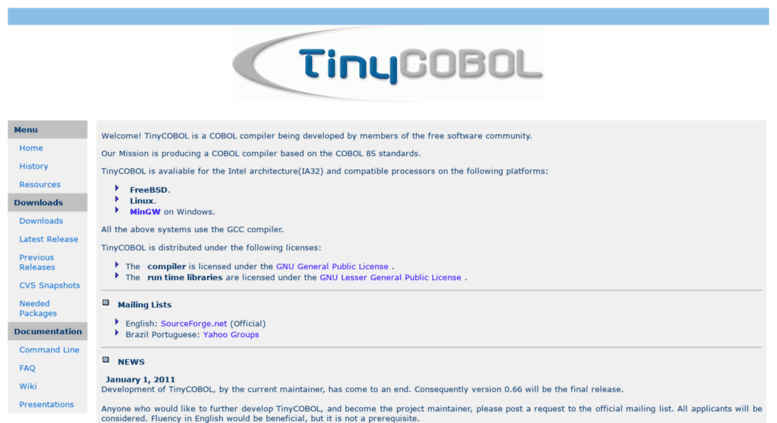 Access tiny-cobol sourceforge net  The TinyCOBOL Project Home Page