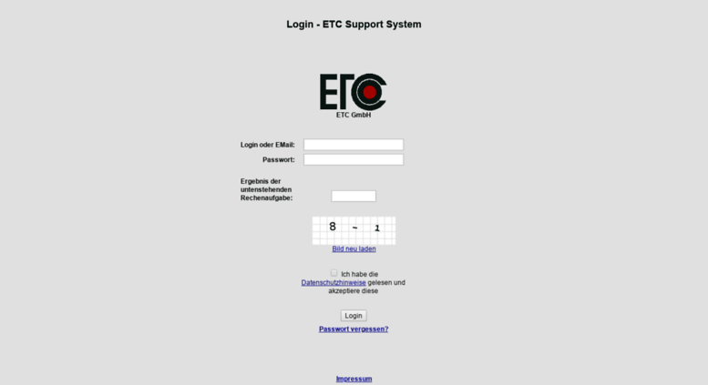 Access tisys.etcconnect.net. Login - ETC Support System