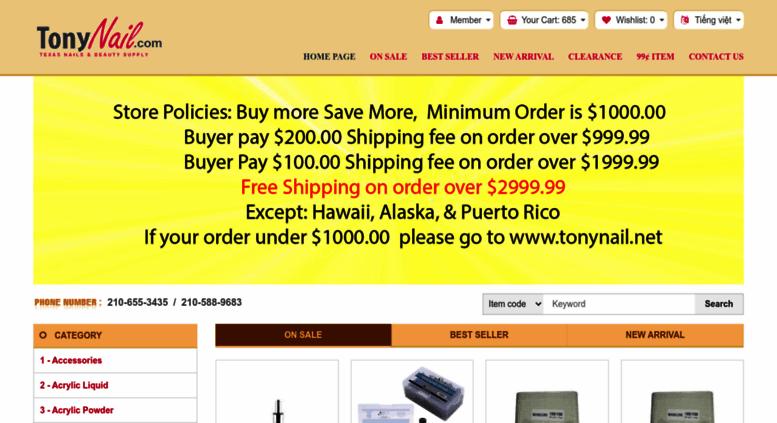Access tonynail.com. Nail Supplies, Texas Discount Nails & Beauty Supply