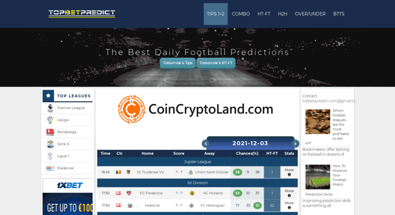 Access topbetpredict com  The Best Free Daily Football