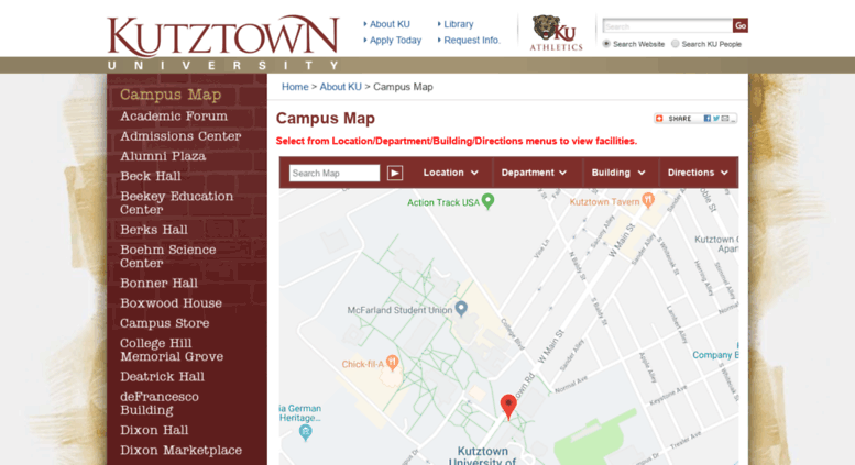 Access tour.kutztown.edu. Campus Map - Kutztown University on georgian court campus map, lawrence campus map, west alabama campus map, lyons campus map, wayne campus map, delaware valley campus map, western state campus map, bedford campus map, altoona campus map, saginaw valley campus map, kingston campus map, abilene christian campus map, marietta campus map, southern connecticut state campus map, ambler campus map, ashland campus map, hershey campus map, ouachita baptist campus map, newark campus map, university of pennsylvania campus map,