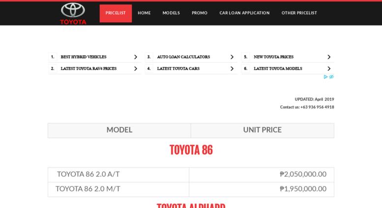 access toyotapricelist com  toyota pricelist philippines