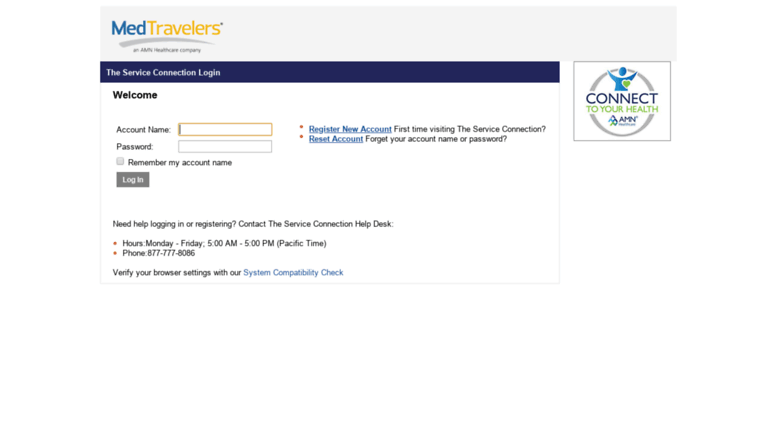Access tsc medtravelers com  The Service Connection - Login