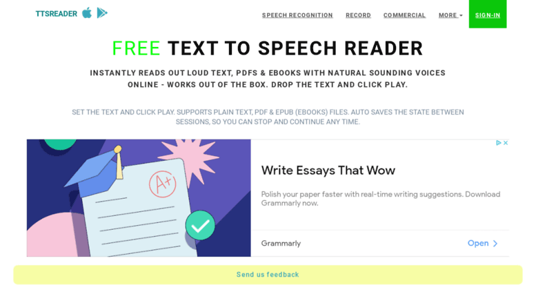 Access ttsreader firebaseapp com  Text To Speech Reader  Online