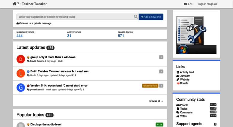 Access tweaker userecho com  General / 7+ Taskbar Tweaker