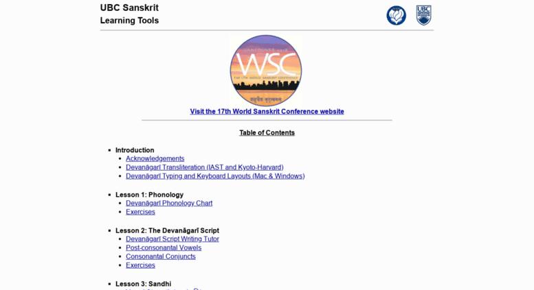 Access ubcsanskrit ca  UBC Sanskrit Learning Tools