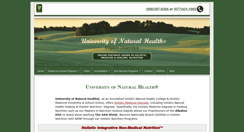 Access unh-edu org  Holistic Medicine & Health & Nutrition School
