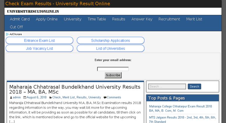 Access universityresultonline in  Check Exam Results - University